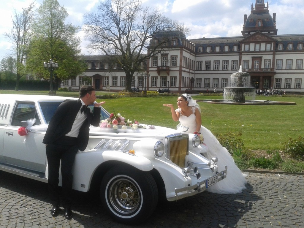 Excalibur Hochzeit Stretchlimousine Limousinenservice Brautwagen weiss Oldtimer