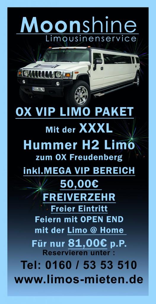 Stretchlimo Ox Freudenberg VIP Bereich ReservierenPaket Hummer Siegen Gummersbach
