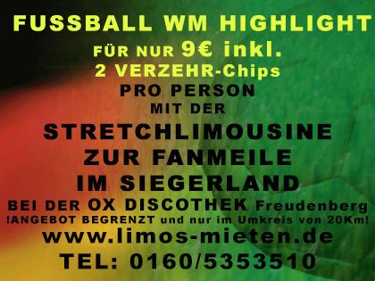 WM OX Freudenberg Siegn Fanmeile Angebot Stretchlimousine Hummer H2 Fussball Publik Viewing Siegen Schlossplatz