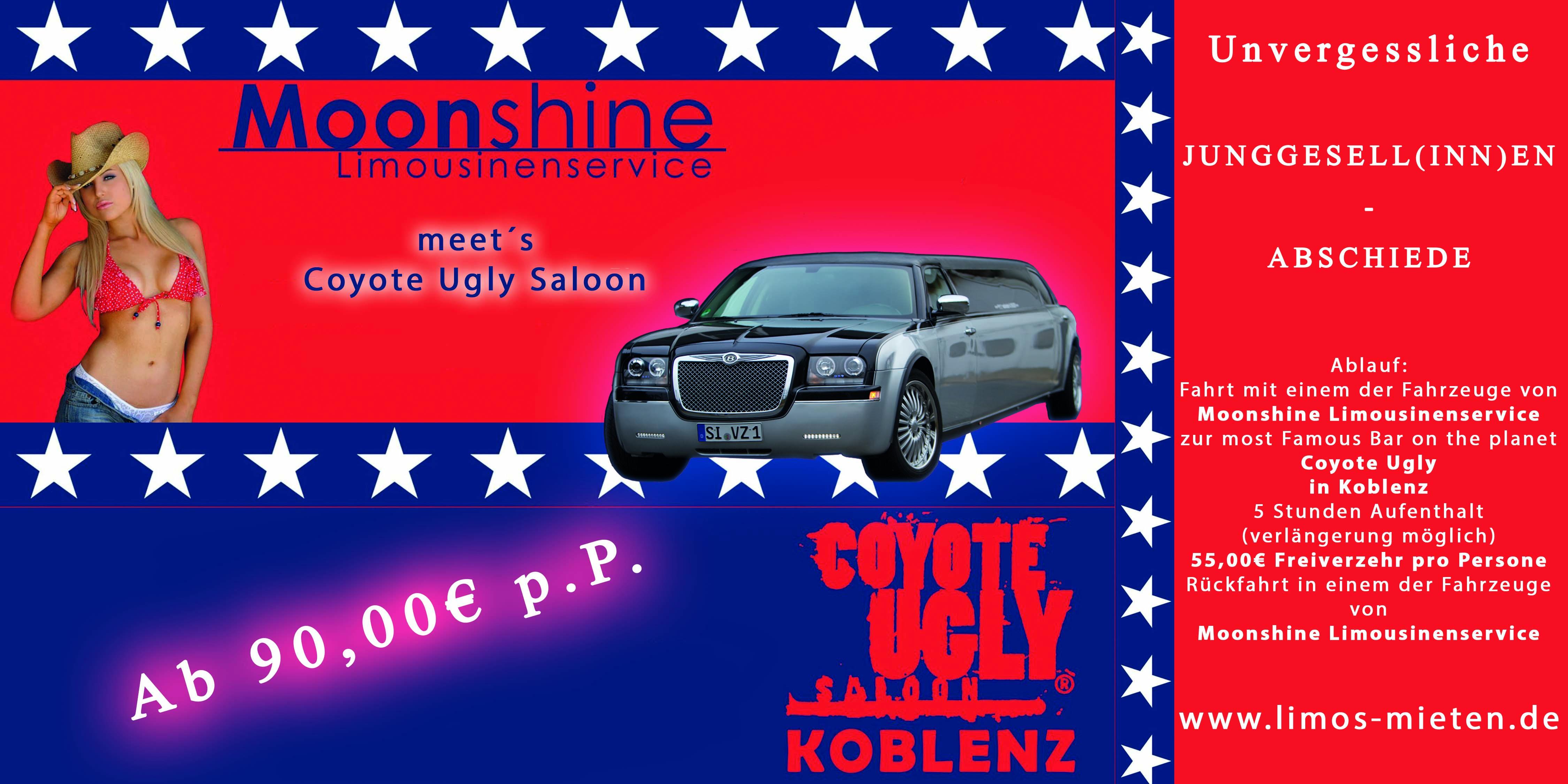 Partybus und Stretchlimousine zur Coyote Ugly Bar in Koblenz